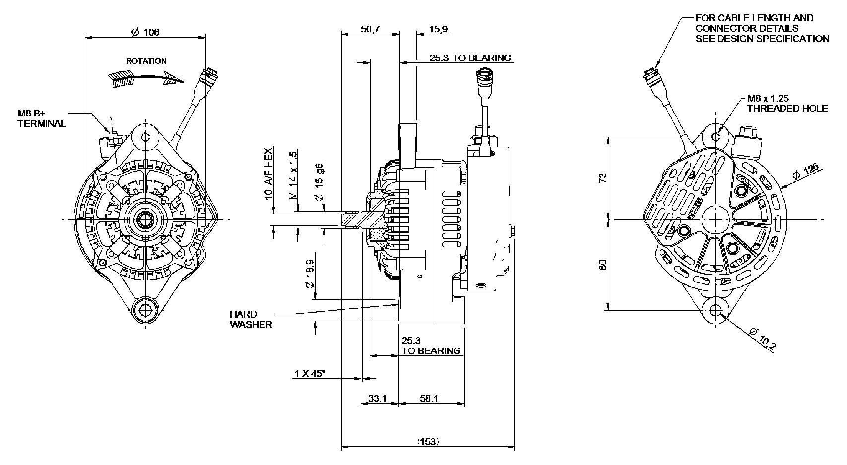 G-Type alternator Dimensions
